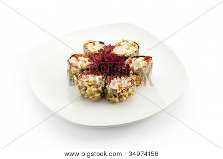 Japanese Cuisine - Deep-fried Sushi Roll with Scallop and Apple Slice, Flying Fish Roe inside. Served with Salad Leaf