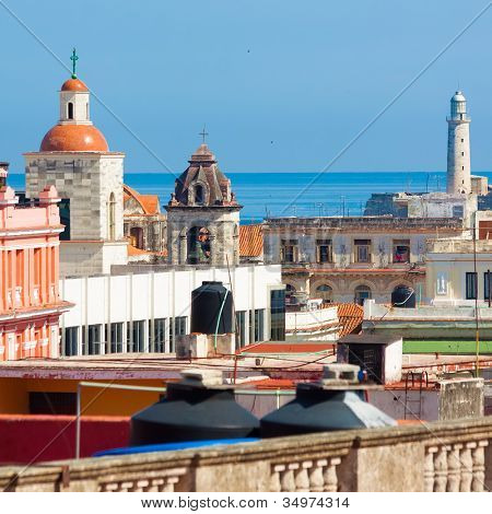 View of Old Havana including landmarks such as El Morro and the tower of the Cathedral