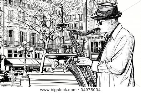 Vector illustration of saxophonist playing saxophone  in a street of Paris