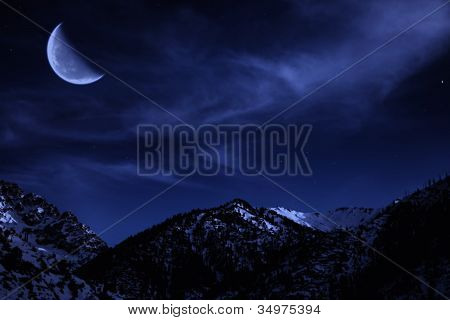 Night Mountain Winter Landscape