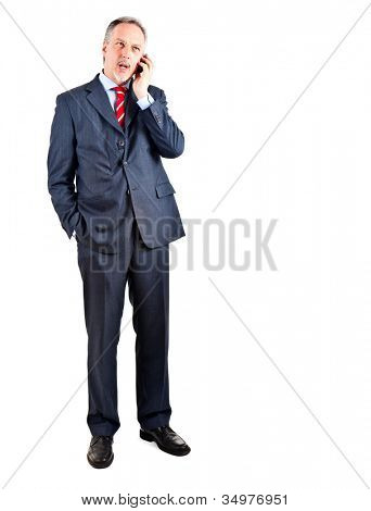 Senior businessman talking at phone full length portrait