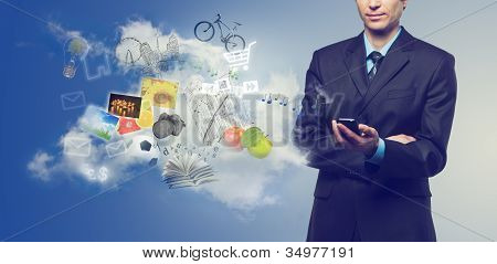 Businessman Using Mobile Phone With Touchscreen And Cloudy Service