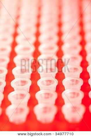small plastic tubes in the rack