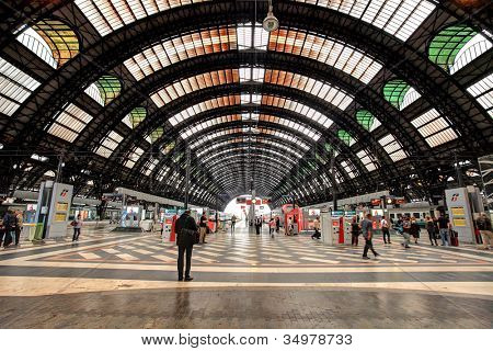 MILAN - JUNE 07: Milan Central Station interior view. It was opened in 1931, serves national and international routes and is one of the main European railway stations in Milan, Italy on June 07, 2012.