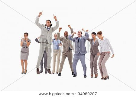 Very enthusiast business people jumping and raising their arms against white background
