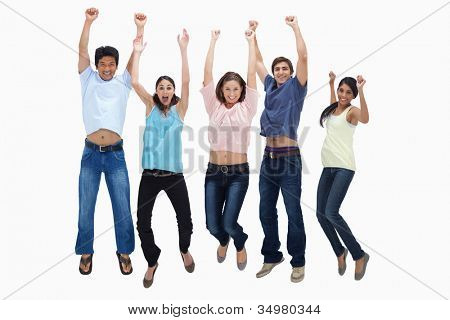 Customers jumping for joy against white background