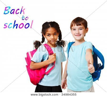 Two school kids in blue t-shirts with backpacks