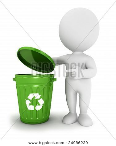 3d white people recycle trash can