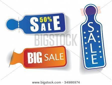 Legen Sie farbige Etiketten mit Verkauf und Rabatt-Nachrichten verwendet, um auf Webseiten, Blogs etc. die promot