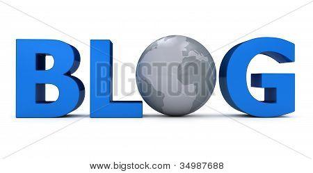Wort Blog mit Globus weiß