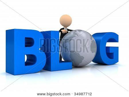 Word-Blog mit Globus weiß