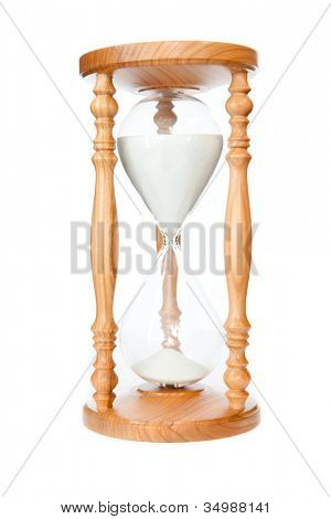 Hourglass against a white background