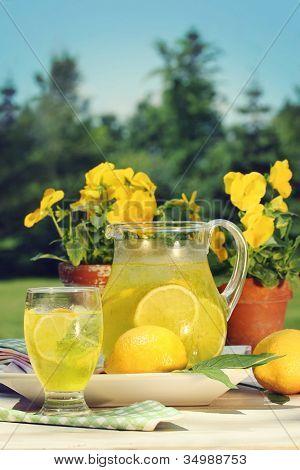 Fresh lemonade on a hot summer day