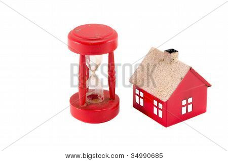 House Imitation Broken Sandglass Isolated On White