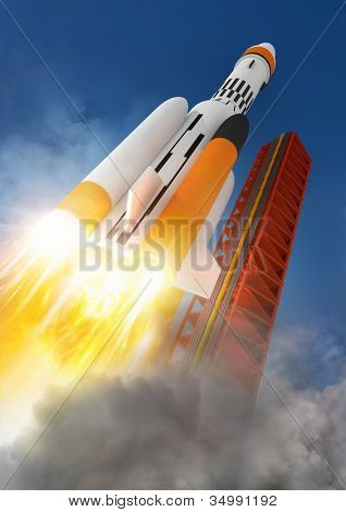 Blast Off! A rocket launching into space.