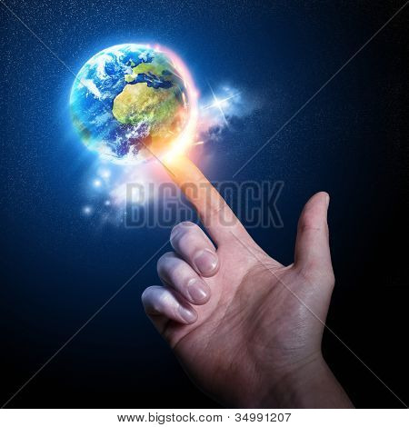 World on your Fingertip. Conceptual photography.