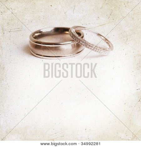 vintage wedding invitation with rings