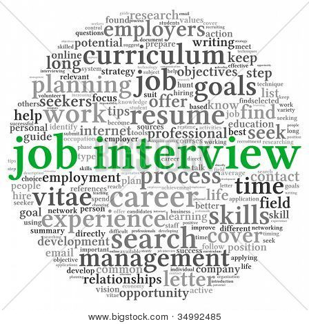 Job interview concept in word tag cloud on white background