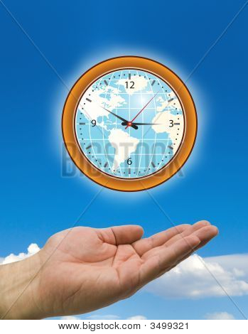 Hands And Clock With Clouds