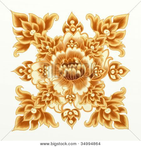 Golden Flower of Damask Seamless Pattern