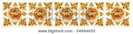 Golden Flower of Seamless Stripe Pattern