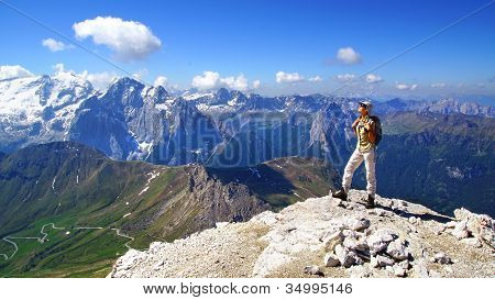 Picturesque mountain landscape with tourist.