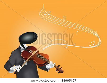 Violinist Man playing Violin with Musical Notes