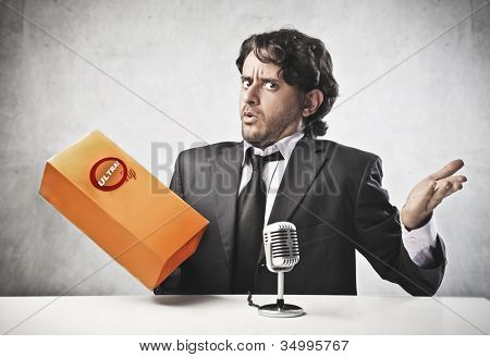 Salesperson advertising a product