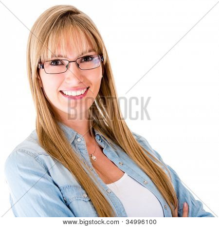 Casual woman smiling and wearing glasses - isolated over a white background