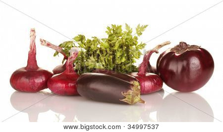 Purple vegetables isolated on white