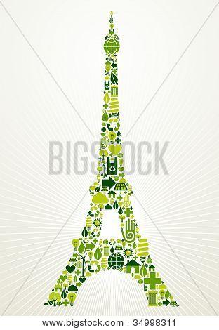 París ir ilustración concepto verde