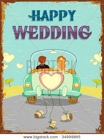 illustration of just married couple in car on vintage background