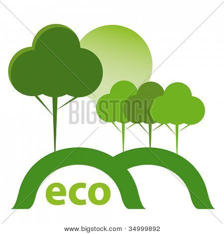 Green ECO concept. Sun, trees, hill and green pasture.