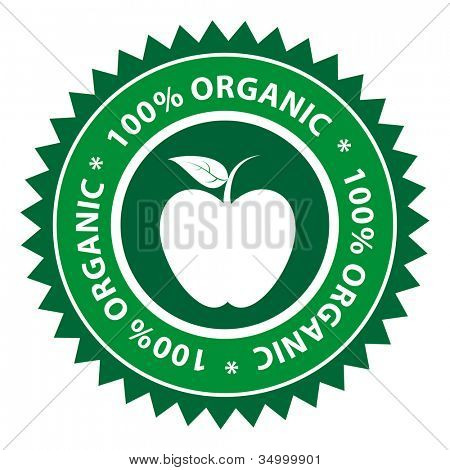 100% Organic Apple healthy food label.