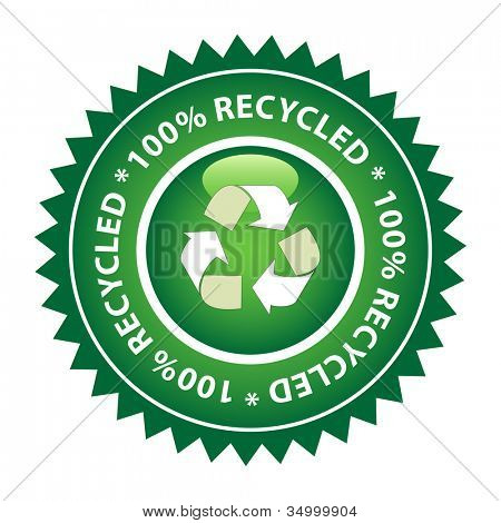 100% Recycled green label.