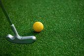 image of miniature golf  - golf club and ball - JPG