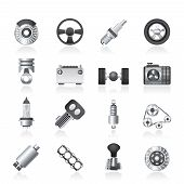 stock photo of piston-rod  - Different kind of car parts icons  - JPG