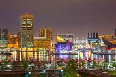 stock photo of maryland  - View on downtown of Baltimore at night - JPG