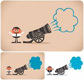 foto of cannon  - Cannon and cannoneer. The illustration is in 3 versions.
