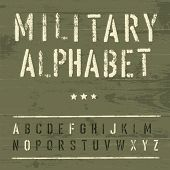 stock photo of sergeant major  - Military Vintage Alphabet - JPG