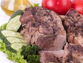 Delicious cold boiled pork with vegetables and spicy herbs poster