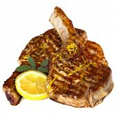 image of pork cutlet  - Grilled pork chops with sage and lemon - JPG