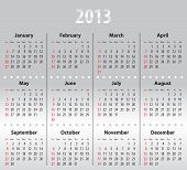Light Gray Calendar For 2013