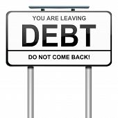 stock photo of debt free  - Illustration depicting a roadsign with a debt concept - JPG