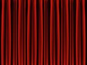 stock photo of curtains stage  - Red draped theater stage curtains vector background - JPG
