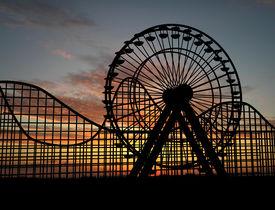 stock photo of ferris-wheel  - Ferris wheel and amusement park  - JPG