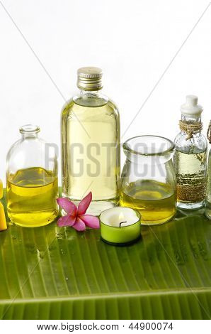 spa supplies with frangipani,oil, image of tropical spa.