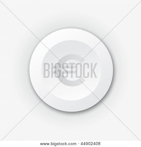 White plastic button with euro sign