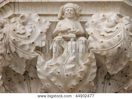 Ornate Column Capital At Doge's Palace, Venice