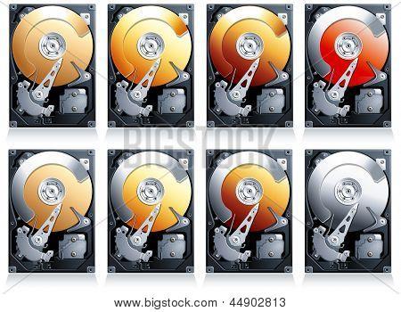 Hard disk drive HDD Illustration, set of 8